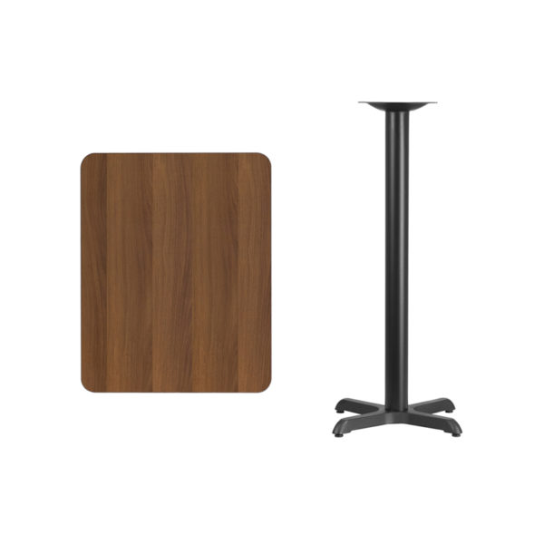 Lowest Price 24'' x 30'' Rectangular Walnut Laminate Table Top with 22'' x 22'' Bar Height Table Base