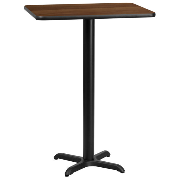 Wholesale 24'' x 30'' Rectangular Walnut Laminate Table Top with 22'' x 22'' Bar Height Table Base