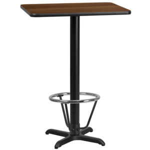 Wholesale 24'' x 30'' Rectangular Walnut Laminate Table Top with 22'' x 22'' Bar Height Table Base and Foot Ring