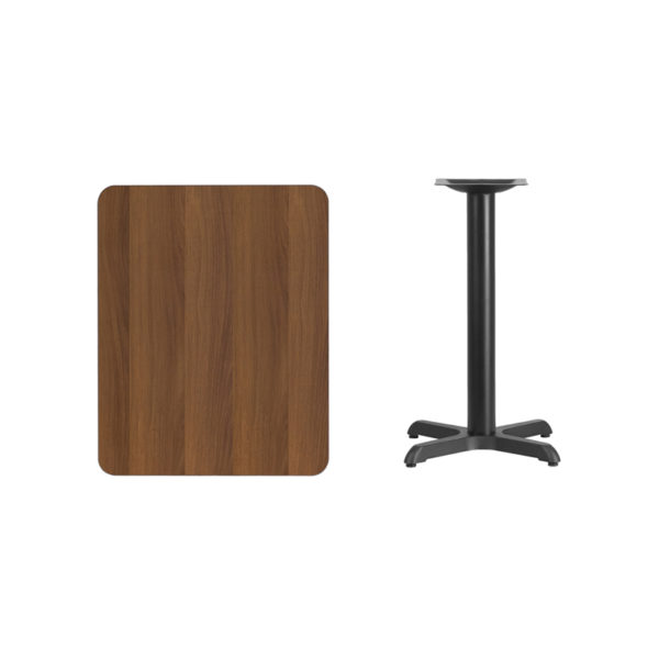 Lowest Price 24'' x 30'' Rectangular Walnut Laminate Table Top with 22'' x 22'' Table Height Base