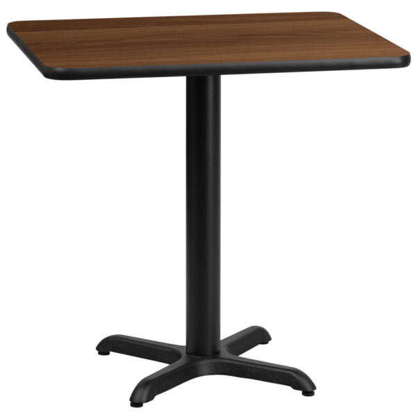 Wholesale 24'' x 30'' Rectangular Walnut Laminate Table Top with 22'' x 22'' Table Height Base