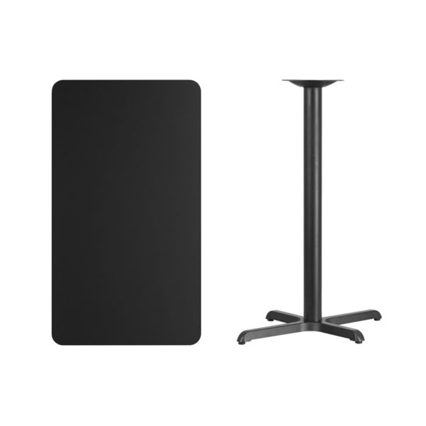 Lowest Price 24'' x 42'' Rectangular Black Laminate Table Top with 22'' x 30'' Bar Height Table Base