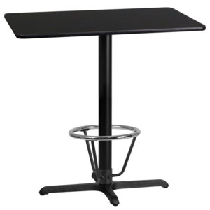 Wholesale 24'' x 42'' Rectangular Black Laminate Table Top with 22'' x 30'' Bar Height Table Base and Foot Ring