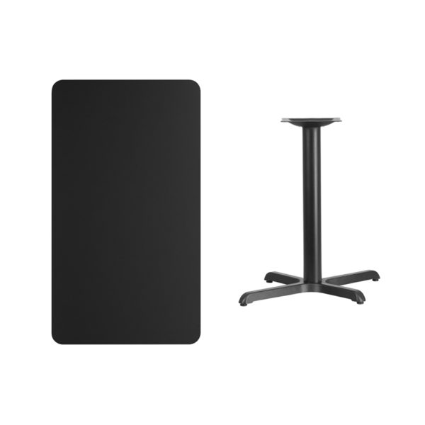 Lowest Price 24'' x 42'' Rectangular Black Laminate Table Top with 22'' x 30'' Table Height Base