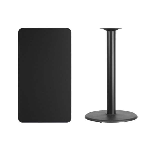 Lowest Price 24'' x 42'' Rectangular Black Laminate Table Top with 24'' Round Bar Height Table Base