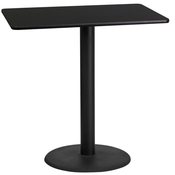 Wholesale 24'' x 42'' Rectangular Black Laminate Table Top with 24'' Round Bar Height Table Base