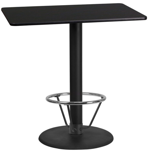 Wholesale 24'' x 42'' Rectangular Black Laminate Table Top with 24'' Round Bar Height Table Base and Foot Ring