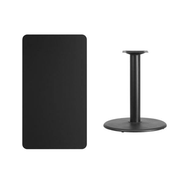 Lowest Price 24'' x 42'' Rectangular Black Laminate Table Top with 24'' Round Table Height Base