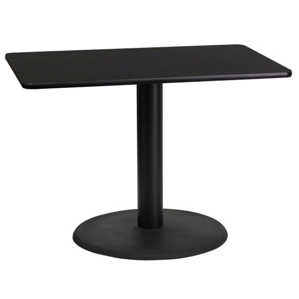 Wholesale 24'' x 42'' Rectangular Black Laminate Table Top with 24'' Round Table Height Base