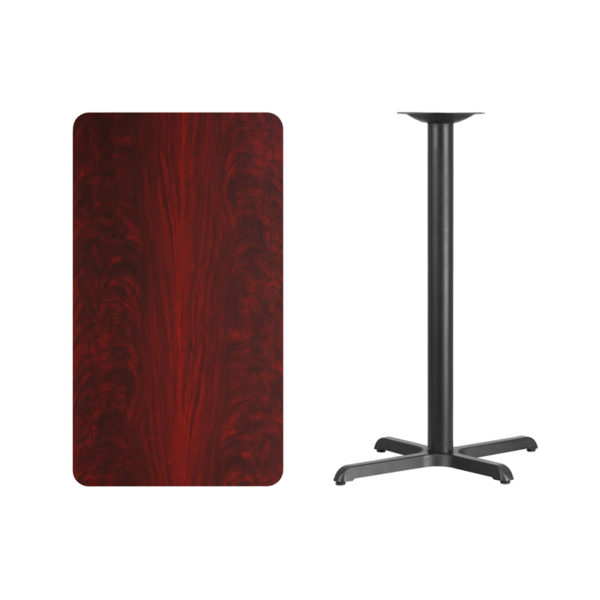 Lowest Price 24'' x 42'' Rectangular Mahogany Laminate Table Top with 22'' x 30'' Bar Height Table Base