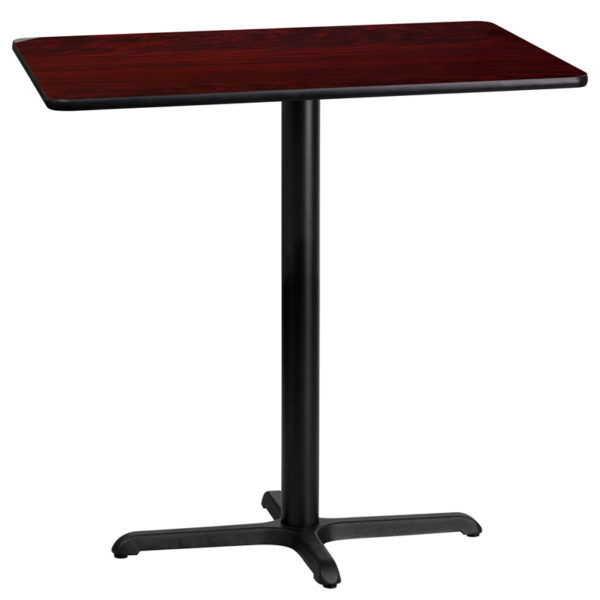 Wholesale 24'' x 42'' Rectangular Mahogany Laminate Table Top with 22'' x 30'' Bar Height Table Base