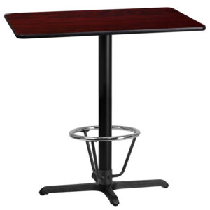 Wholesale 24'' x 42'' Rectangular Mahogany Laminate Table Top with 22'' x 30'' Bar Height Table Base and Foot Ring