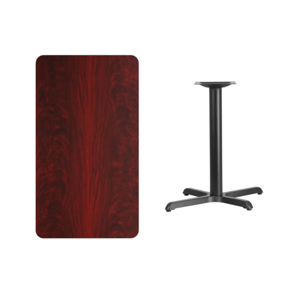 Lowest Price 24'' x 42'' Rectangular Mahogany Laminate Table Top with 22'' x 30'' Table Height Base