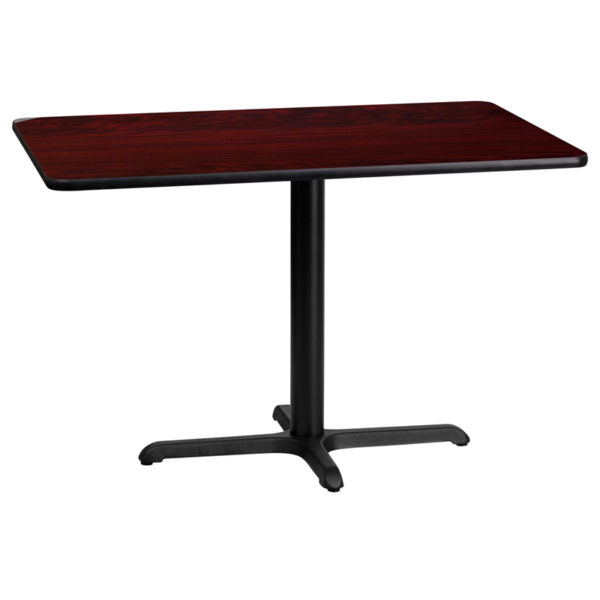 Wholesale 24'' x 42'' Rectangular Mahogany Laminate Table Top with 22'' x 30'' Table Height Base