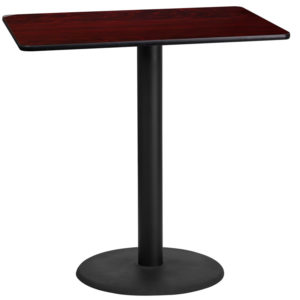 Wholesale 24'' x 42'' Rectangular Mahogany Laminate Table Top with 24'' Round Bar Height Table Base