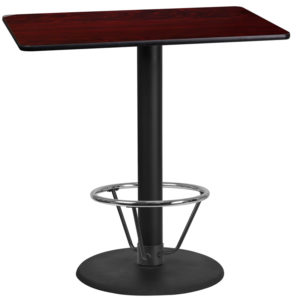 Wholesale 24'' x 42'' Rectangular Mahogany Laminate Table Top with 24'' Round Bar Height Table Base and Foot Ring