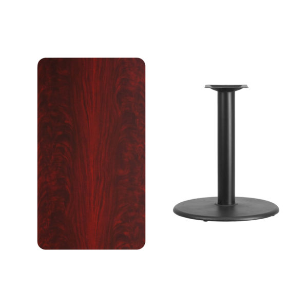 Lowest Price 24'' x 42'' Rectangular Mahogany Laminate Table Top with 24'' Round Table Height Base