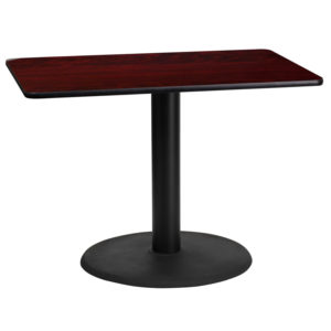 Wholesale 24'' x 42'' Rectangular Mahogany Laminate Table Top with 24'' Round Table Height Base