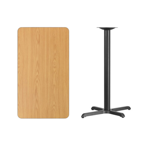 Lowest Price 24'' x 42'' Rectangular Natural Laminate Table Top with 22'' x 30'' Bar Height Table Base