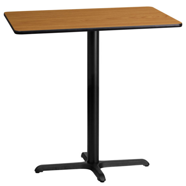 Wholesale 24'' x 42'' Rectangular Natural Laminate Table Top with 22'' x 30'' Bar Height Table Base