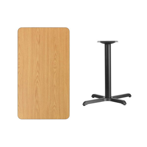 Lowest Price 24'' x 42'' Rectangular Natural Laminate Table Top with 22'' x 30'' Table Height Base