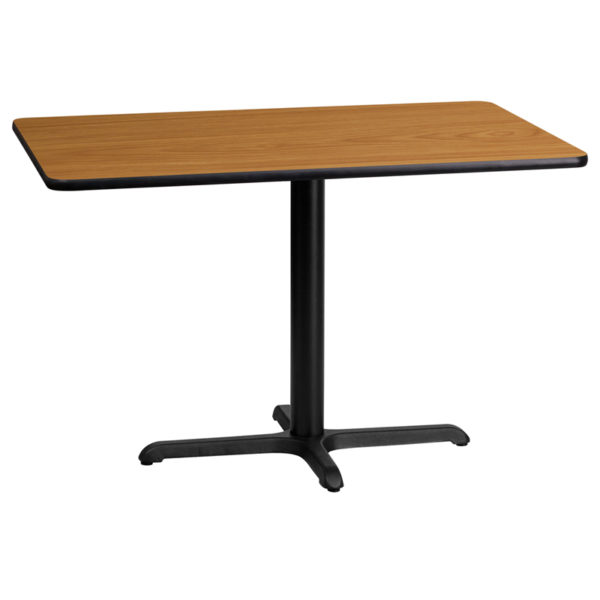 Wholesale 24'' x 42'' Rectangular Natural Laminate Table Top with 22'' x 30'' Table Height Base
