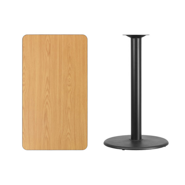 Lowest Price 24'' x 42'' Rectangular Natural Laminate Table Top with 24'' Round Bar Height Table Base