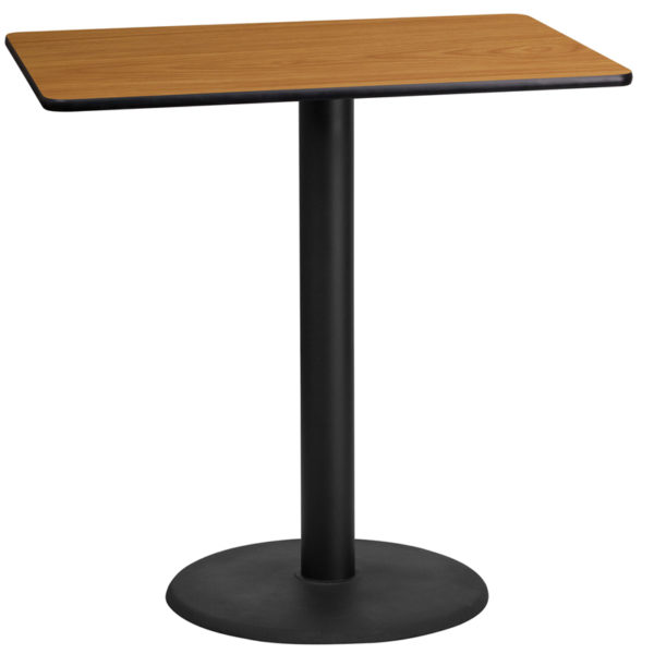 Wholesale 24'' x 42'' Rectangular Natural Laminate Table Top with 24'' Round Bar Height Table Base