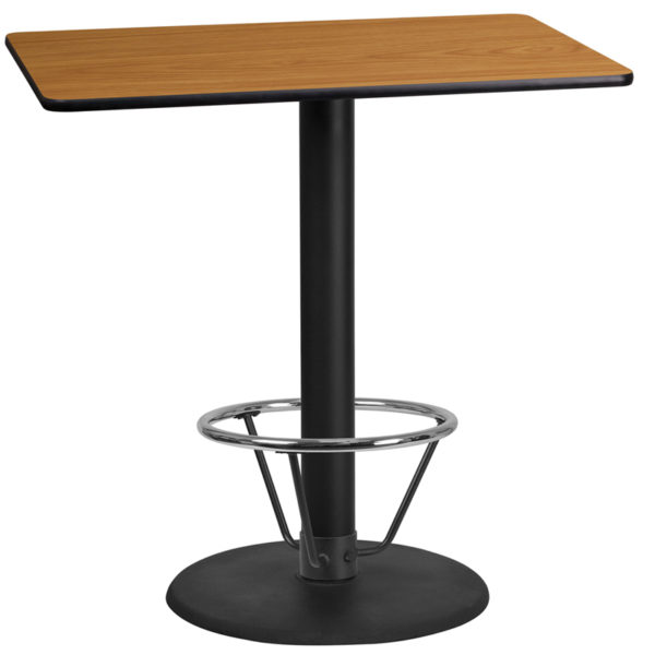 Wholesale 24'' x 42'' Rectangular Natural Laminate Table Top with 24'' Round Bar Height Table Base and Foot Ring
