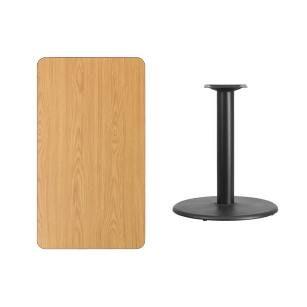Lowest Price 24'' x 42'' Rectangular Natural Laminate Table Top with 24'' Round Table Height Base