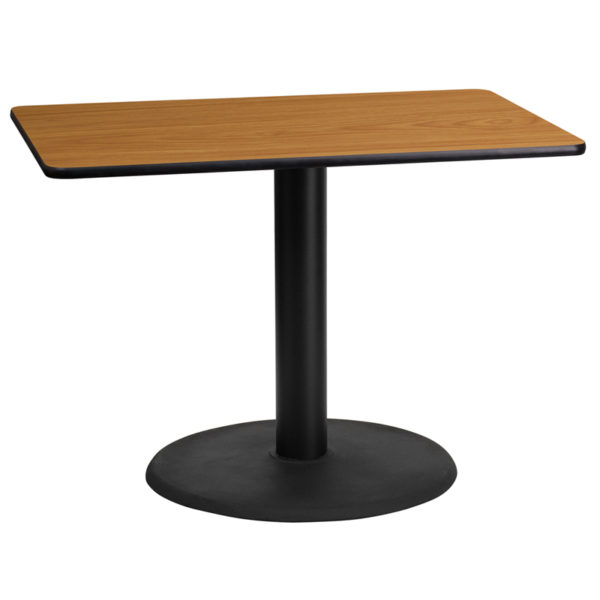 Wholesale 24'' x 42'' Rectangular Natural Laminate Table Top with 24'' Round Table Height Base