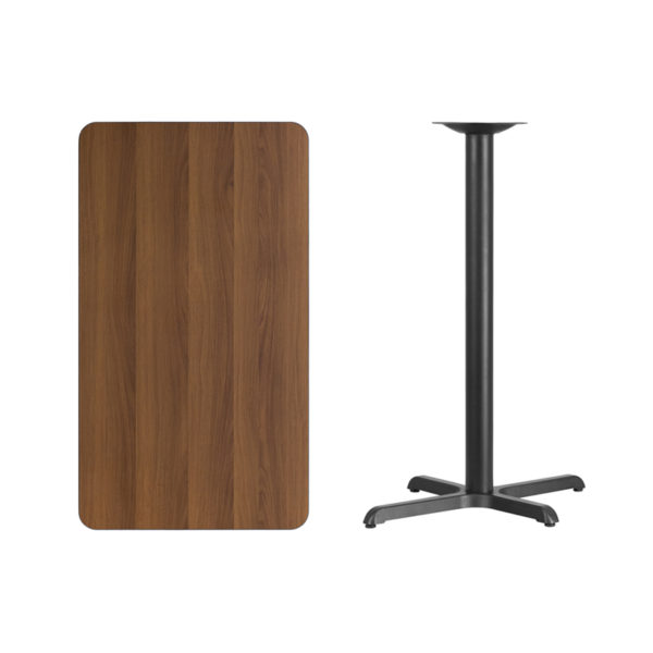 Lowest Price 24'' x 42'' Rectangular Walnut Laminate Table Top with 22'' x 30'' Bar Height Table Base