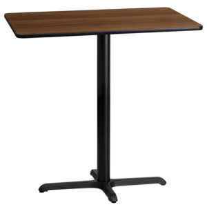 Wholesale 24'' x 42'' Rectangular Walnut Laminate Table Top with 22'' x 30'' Bar Height Table Base