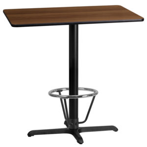 Wholesale 24'' x 42'' Rectangular Walnut Laminate Table Top with 22'' x 30'' Bar Height Table Base and Foot Ring