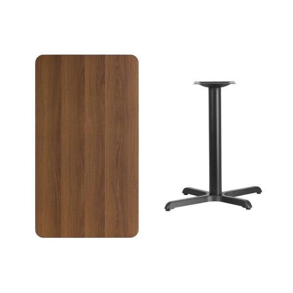 Lowest Price 24'' x 42'' Rectangular Walnut Laminate Table Top with 22'' x 30'' Table Height Base
