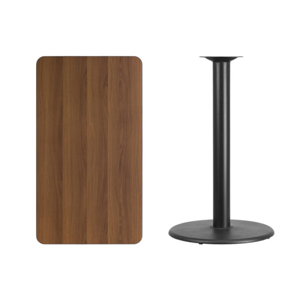 Lowest Price 24'' x 42'' Rectangular Walnut Laminate Table Top with 24'' Round Bar Height Table Base