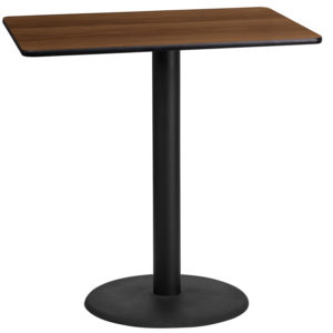 Wholesale 24'' x 42'' Rectangular Walnut Laminate Table Top with 24'' Round Bar Height Table Base