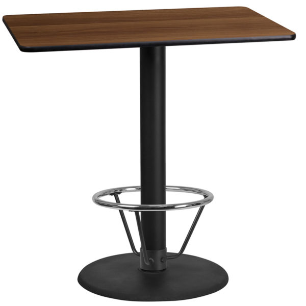 Wholesale 24'' x 42'' Rectangular Walnut Laminate Table Top with 24'' Round Bar Height Table Base and Foot Ring