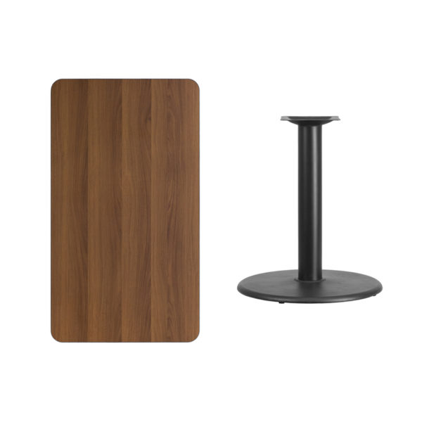 Lowest Price 24'' x 42'' Rectangular Walnut Laminate Table Top with 24'' Round Table Height Base