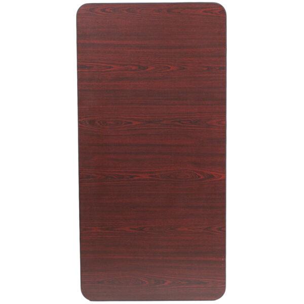 Ready To Use Banquet Table 24x48 Mahogany Wood Fold Table