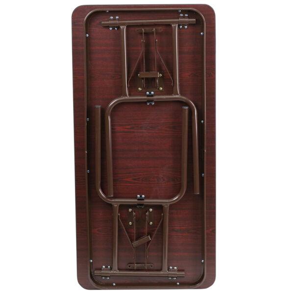 Lowest Price 24'' x 48'' Rectangular Mahogany Melamine Laminate Folding Banquet Table