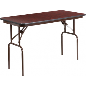 Wholesale 24'' x 48'' Rectangular Mahogany Melamine Laminate Folding Banquet Table