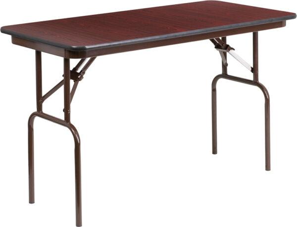 Wholesale 24'' x 48'' Rectangular Mahogany Melamine Laminate Folding Banquet Table