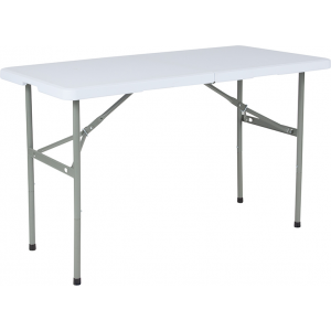 "Wholesale 24""W x 48""L Bi-Fold Granite White Plastic Folding Table"
