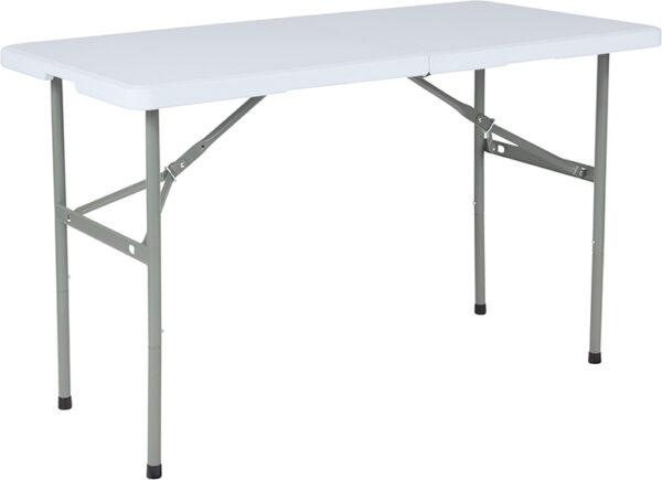 """Wholesale 24""""W x 48""""L Bi-Fold Granite White Plastic Folding Table"""