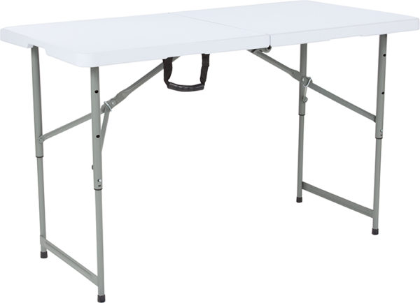 "Wholesale 24""W x 48""L Height Adjustable Bi-Fold Granite White Plastic Folding Table"