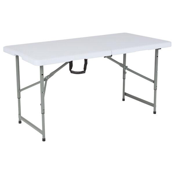 "Lowest Price 24""W x 48""L Height Adjustable Bi-Fold Granite White Plastic Folding Table"
