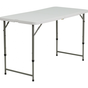 Wholesale 24''W x 48''L Height Adjustable Bi-Fold Granite White Plastic Folding Table