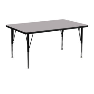 Wholesale 24''W x 48''L Rectangular Grey Thermal Laminate Activity Table - Height Adjustable Short Legs