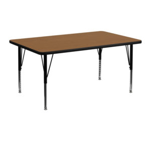 Wholesale 24''W x 48''L Rectangular Oak Thermal Laminate Activity Table - Height Adjustable Short Legs